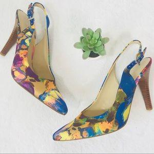 Nine West Multi Color Pointed Toe Slingback Heel